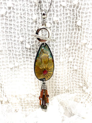 Hand-Painted Copper Enamel Floral Beaded Cluster Pendant #2628D - Bead Dangle Design