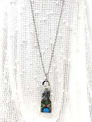 Beautiful Green and Blue Boho Copper Patina Beaded Dangle Necklace #2337D - Bead Dangle Design