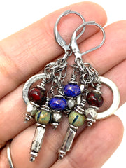 Boho Colorful Solid Hammered Pewter Beaded Dangle Earrings #1173E - Bead Dangle Design
