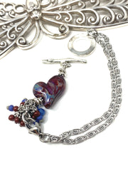 Lampwork Glass Heart Interchangeable Dangle Bracelet #3208BC - Bead Dangle Design