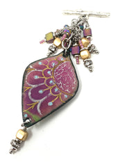 Gorgeous Pink Painted Enamel Beaded Cluster Pendant Necklace #2310D - Bead Dangle Design