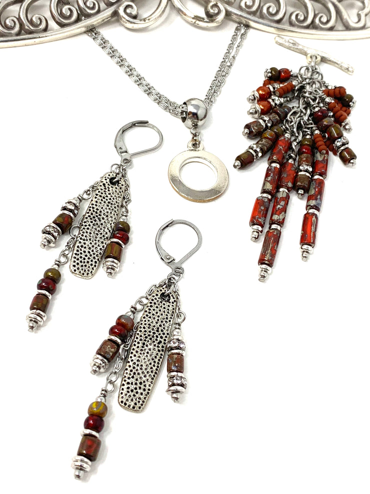 Boho Brick Red Beaded Dangle Earrings #1175E - Bead Dangle Design