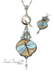 Pretty Teal Dragonfly Painted Enamel Beaded Cluster Necklace #2312D - Bead Dangle Design
