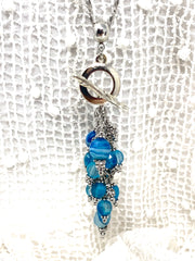 Blue Sky Faceted Agate Beaded Cluster Pendant Necklace #2642D - Bead Dangle Design