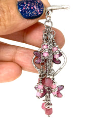 Painted Enamel Dragonfly and Rose Tourmaline Beaded Cluster Necklace #2332D