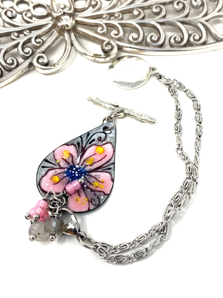 Floral Painted Enamel Interchangeable Dangle Bracelet Pendant #3203BC - Bead Dangle Design