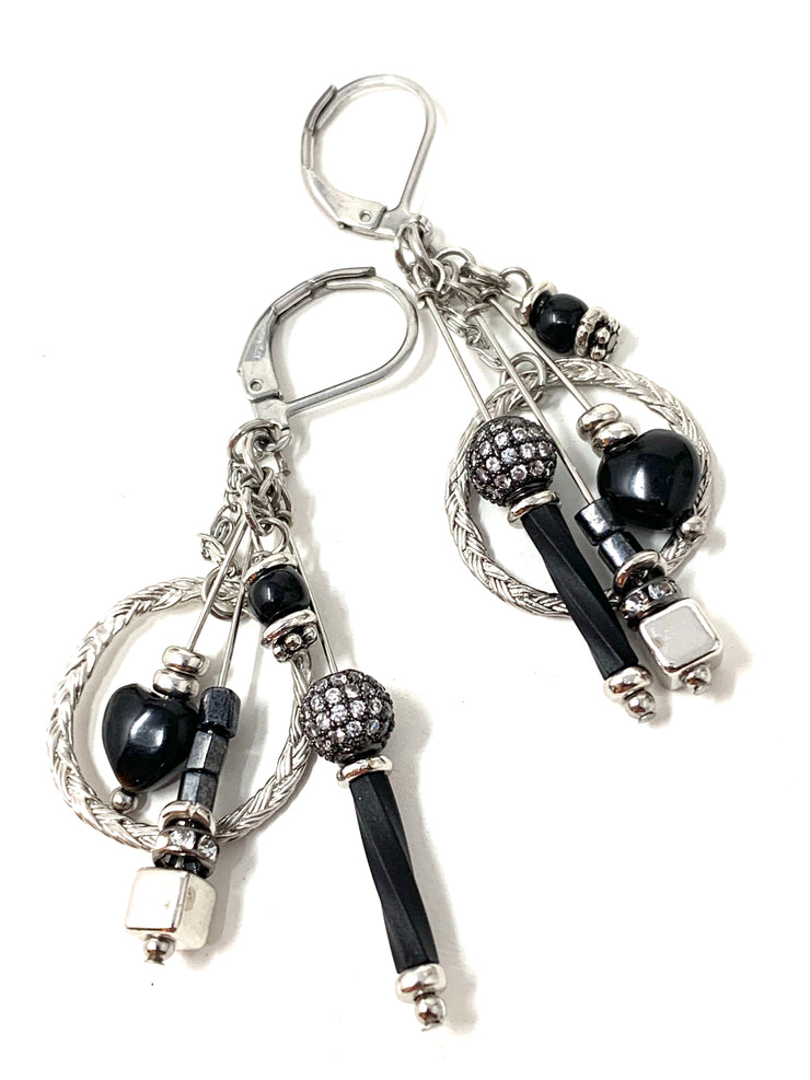 Black Pave' Dangle Drop Beaded Earrings #1231E - Bead Dangle Design