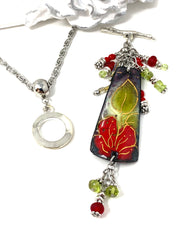 Beautiful Hand-Painted Copper Enamel Floral Leaf Beaded Cluster Pendant Necklace #26371D - Bead Dangle Design