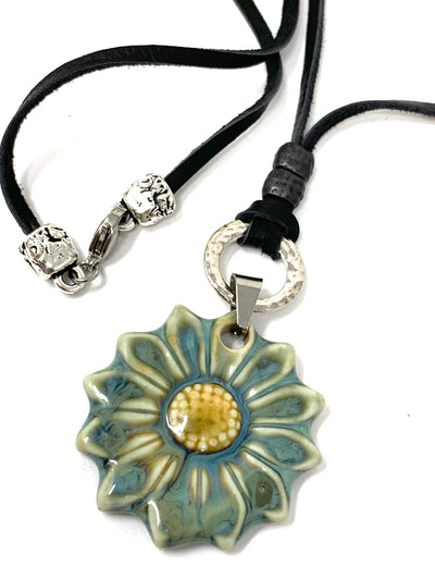 Ceramic Daisy Brown Leather Necklace #131LER - Bead Dangle Design