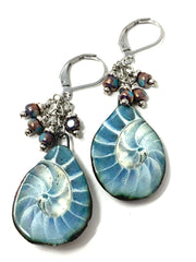 Handmade Shell Polymer Clay Beaded Dangle Earrings #1218E - Bead Dangle Design
