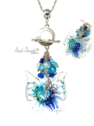 Speckled Blue Crystal Butterfly Beaded Dangle Necklace #3202D - Bead Dangle Design