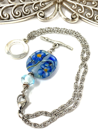 Floral Lampwork Glass Interchangeable Beaded Dangle Bracelet #3241BC - Bead Dangle Design