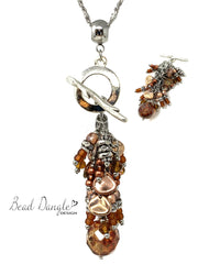Czech Fire Polished Glass Copper Shimmer Beaded Cluster Pendant Necklace #2673D - Bead Dangle Design