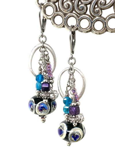 Beautiful Lampwork Glass Beaded Dangle Earrings #1433E - Bead Dangle Design