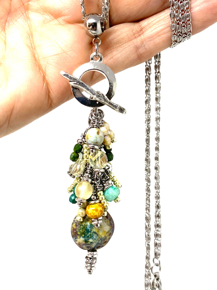 Ceramic Glass Beaded Cluster Pendant Necklace #22713D