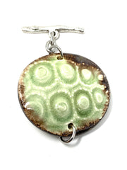 Mint Green and Brown Ceramic Interchangeable Dangle Bracelet Pendant #3090BC - Bead Dangle Design
