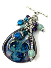 Ceramic Beaded Cluster Pendant Necklace #3114D - Bead Dangle Design