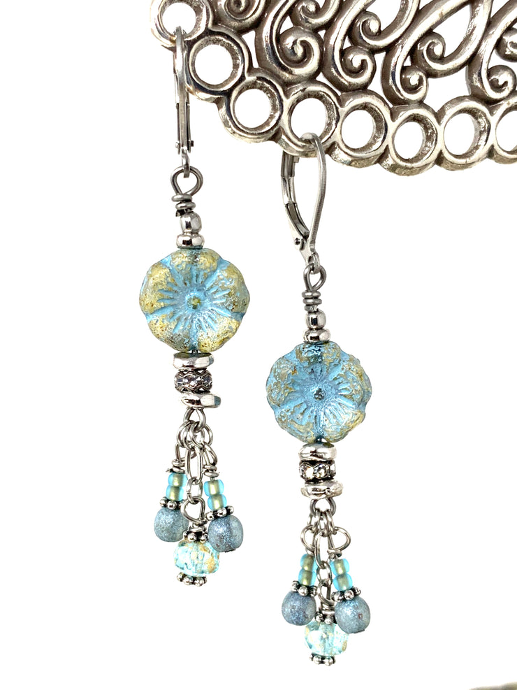 Czech Frosted Glass Flower Beaded Earrings #1129E - Bead Dangle Design