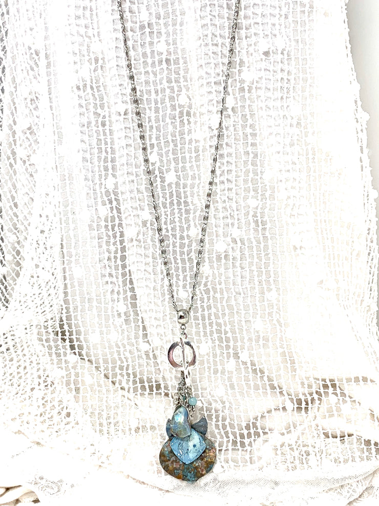 Dichroic Glass Patina Beaded Pendant Necklace #2364D - Bead Dangle Design