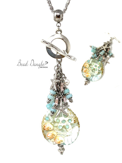Summery Starfish Lampwork Glass Beaded Cluster Dangle Necklace #3228D - Bead Dangle Design