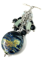 Black, Yellow and Blue Lampwork Glass Beaded Cluster Necklace #2325D - Bead Dangle Design