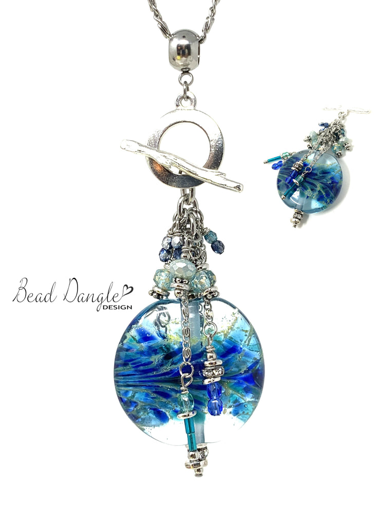 Handmade Lampwork Glass Beaded Cluster Pendant Necklace #2399D - Bead Dangle Design