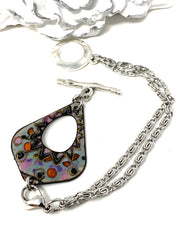 Colorful Painted Copper Enamel Interchangeable Dangle Bracelet Pendant #3095BC - Bead Dangle Design