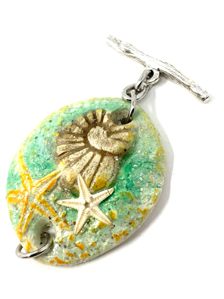 Shell and Starfish Polymer Clay Interchangeable Dangle Bracelet Pendant #3097BC - Bead Dangle Design