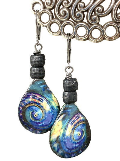 Colorful Boho Swirl Beaded Earrings #1432E - Bead Dangle Design
