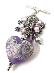 Lampwork Glass Heart Beaded Cluster Dangle Pendant Necklace #2343D - Bead Dangle Design