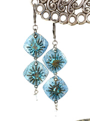 Pale Blue Patina Sun Beaded Dangle Earrings #1219E - Bead Dangle Design