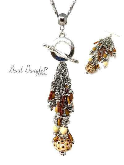 Lampwork Glass and Bugle Bead Cluster Pendant Necklace #3007D