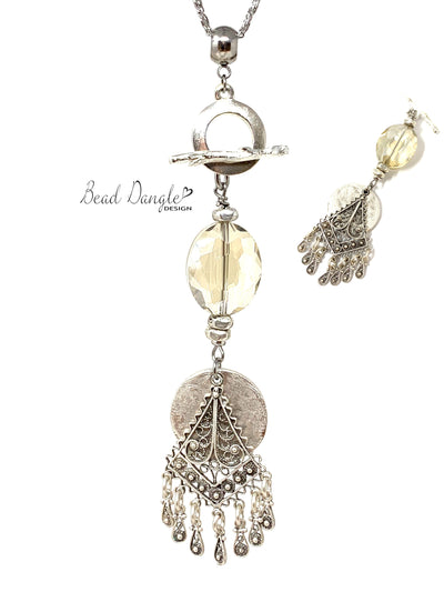 Faceted Crystal Filigree Beaded Dangle Necklace #3217D - Bead Dangle Design