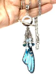 Blue and Black Swirl Butterfly Wing Beaded Cluster Pendant Necklace #2674D - Bead Dangle Design