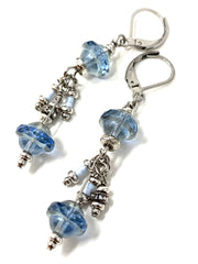 Crystal Sky Blue Dangle Drop Beaded Earrings #1232E - Bead Dangle Design