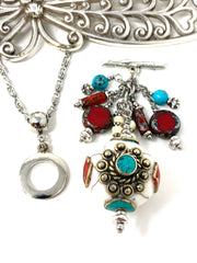 Bohemian Ceramic Glass Beaded Cluster Pendant Necklace #22712D - Bead Dangle Design