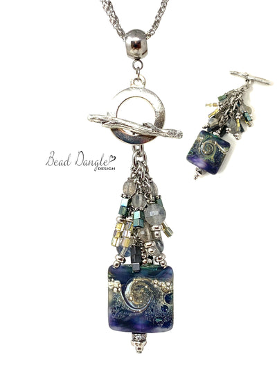 Frosted Lampwork Glass Beaded Cluster Pendant Necklace #3178D - Bead Dangle Design