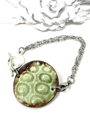 Mint Green and Brown Ceramic Interchangeable Dangle Bracelet Pendant #3090BC