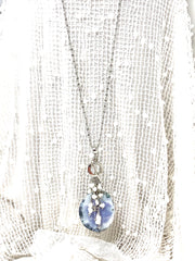Natural Lavender Agate and Mystic Moonstone Beaded Pendant Necklace #2360D - Bead Dangle Design