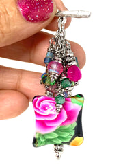 Handmade Puffed Floral Beaded Cluster Pendant Necklace #22719D