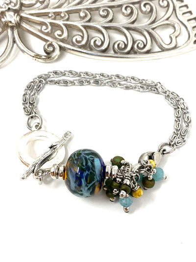 Lampwork Glass Multi-Color Swirl Interchangeable Dangle Bracelet Pendant #3200BC