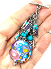 Colorful Lampwork Glass Beaded Pendant Necklace #2353D - Bead Dangle Design