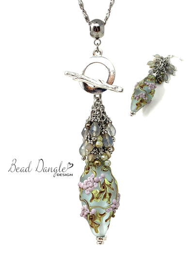 Handmade Lampwork Glass Grapevine Beaded Pendant Necklace #2367D - Bead Dangle Design