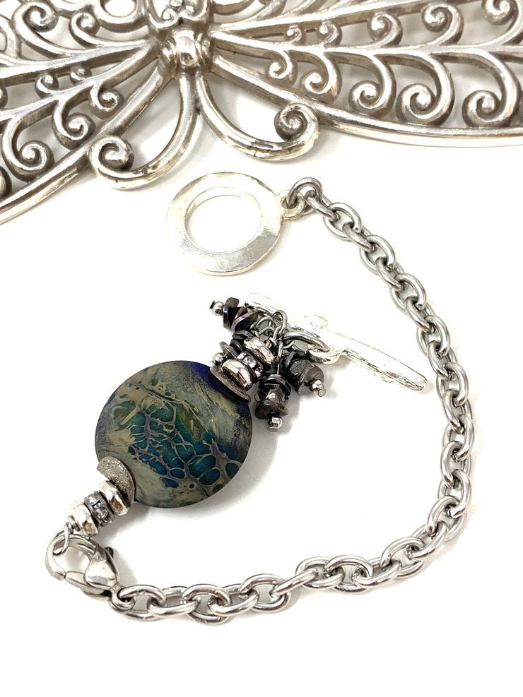 Lampwork Glass Interchangeable Beaded Dangle Bracelet #3228BC