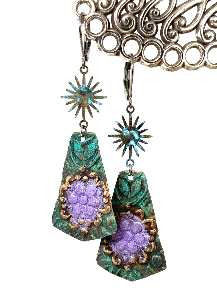 Copper Patina Floral Beaded Dangle Earrings #1208E - Bead Dangle Design