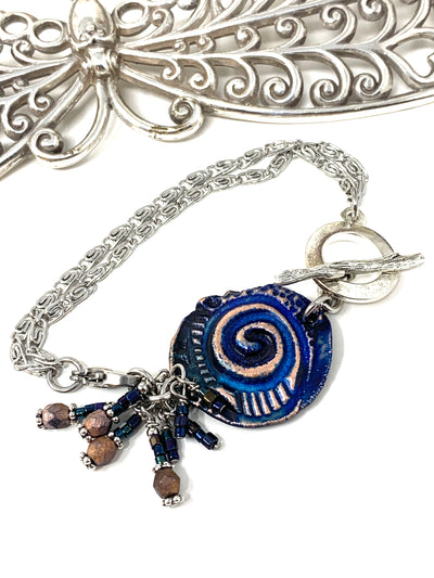 Boho-Chic Polymer Clay Embossed Interchangeable Dangle Bracelet Pendant #31073BC
