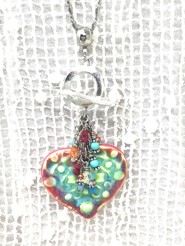 Handmade Porcelain Heart Colorful Beaded Pendant Necklace #2372D - Bead Dangle Design