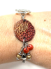 Textured Polymer Clay Copper Interchangeable Dangle Bracelet Pendant #31071BC