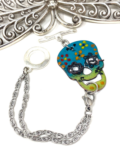 Colorful Painted Enamel Skull Interchangeable Dangle Bracelet #3220BC - Bead Dangle Design
