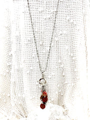 Boho Red Little Cute Birdie Beaded Cluster Pendant Necklace #2672D - Bead Dangle Design